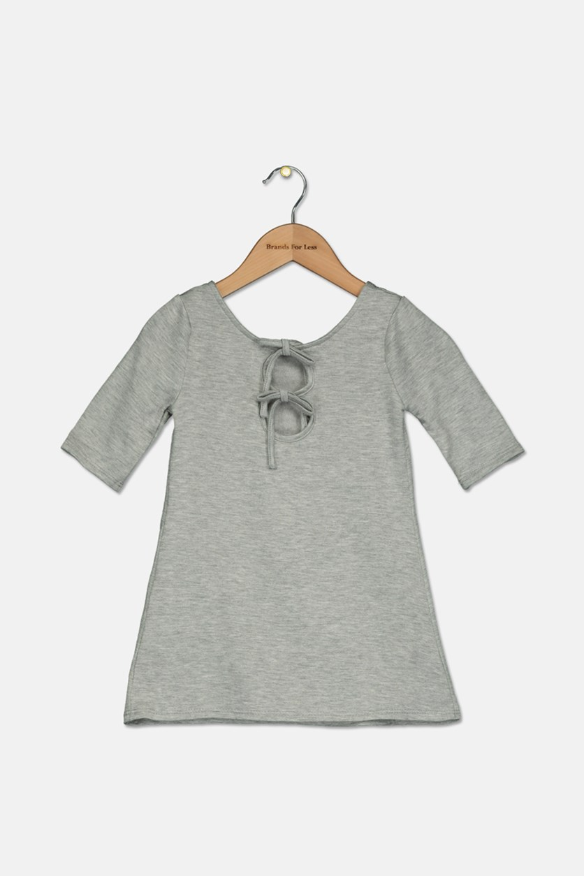 Toddler Girl's Fleece Tie Back Dress, Grey