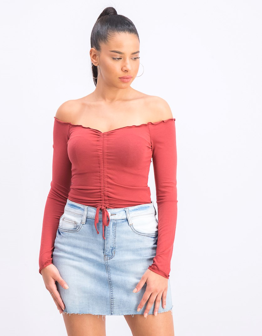 Women's Front Ruched Top, Light Pale Red