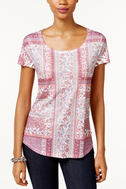 Women's Sublimated-Print T-Shirt, Sweet Blossom