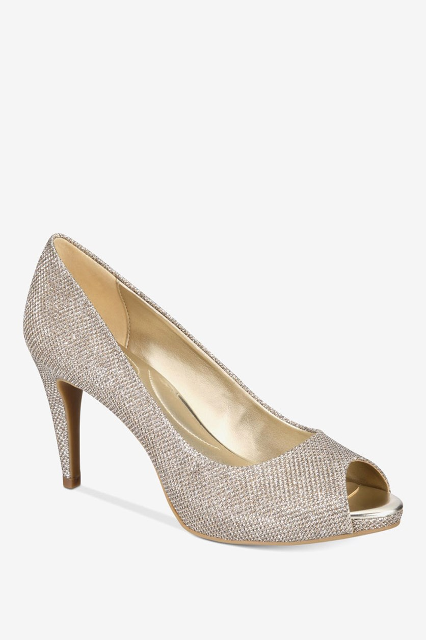 Rainaa Peep Toe Pumps, Gold