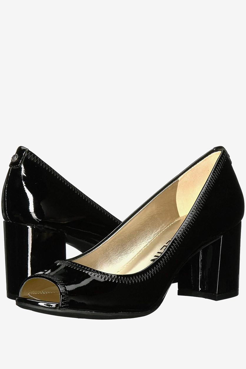 Womens Meredith Leather Peep Toe Classic Pumps, Black
