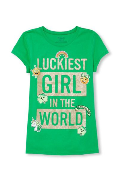 Girl's Top, Green/Gold