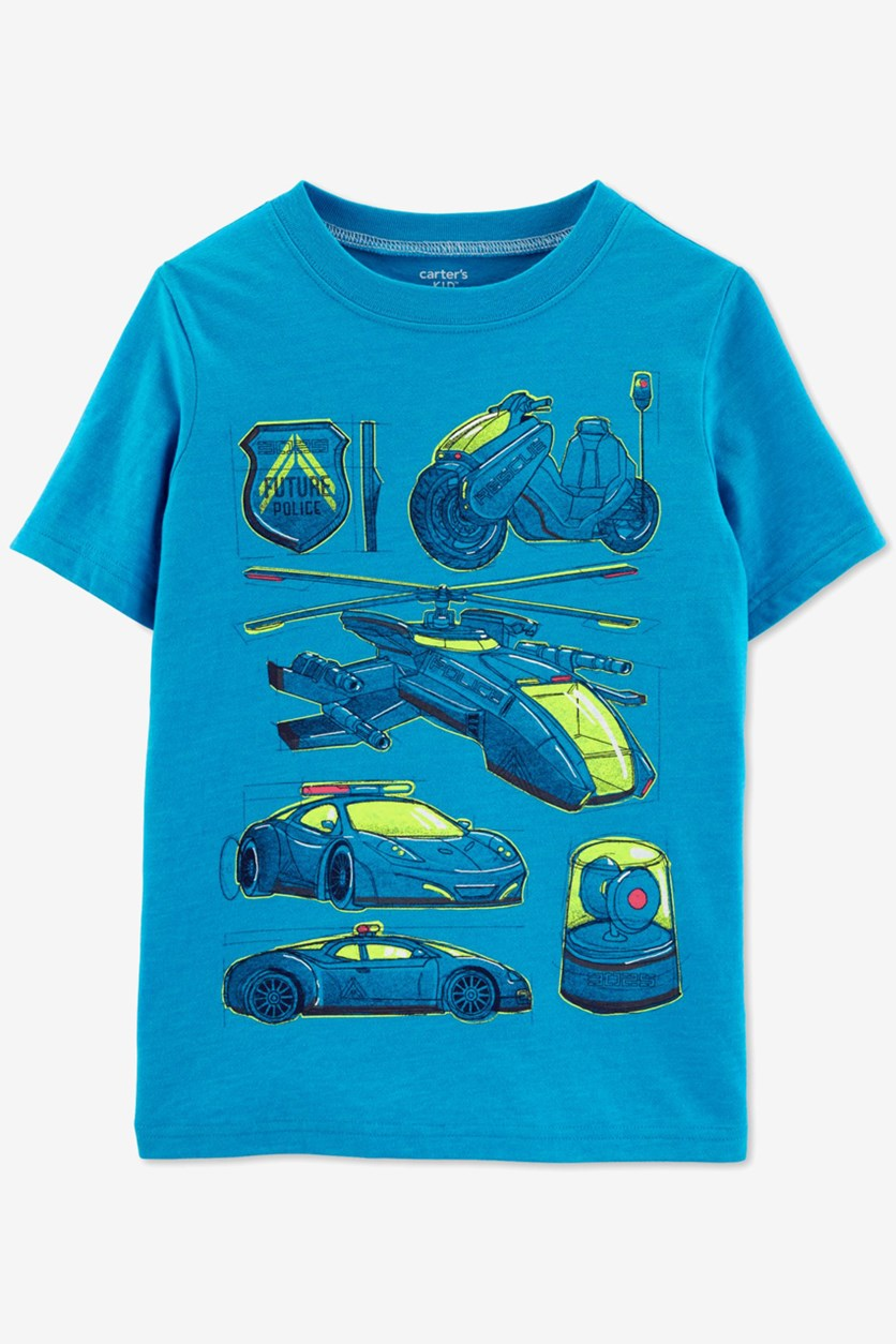 Boys Vehicle Graphic T-Shirt, Blue