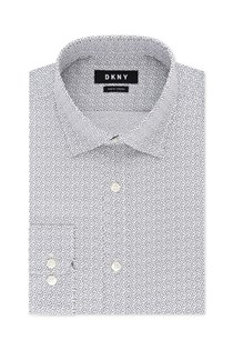 Men's Slim-Fit Stretch Gray Print Dress Shirt, Grey