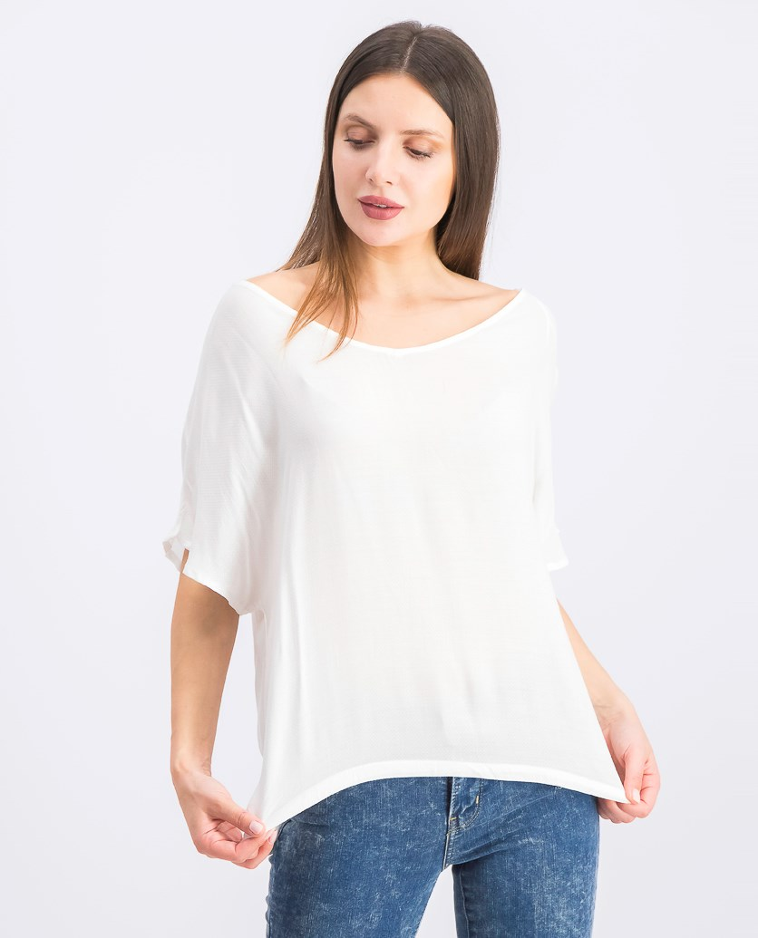 Women's Short Sleeve Boat-Neck Blouse, White