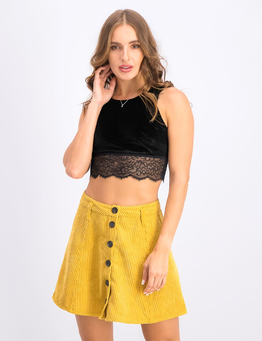 Women's Sleeveless Cropped Top, Black