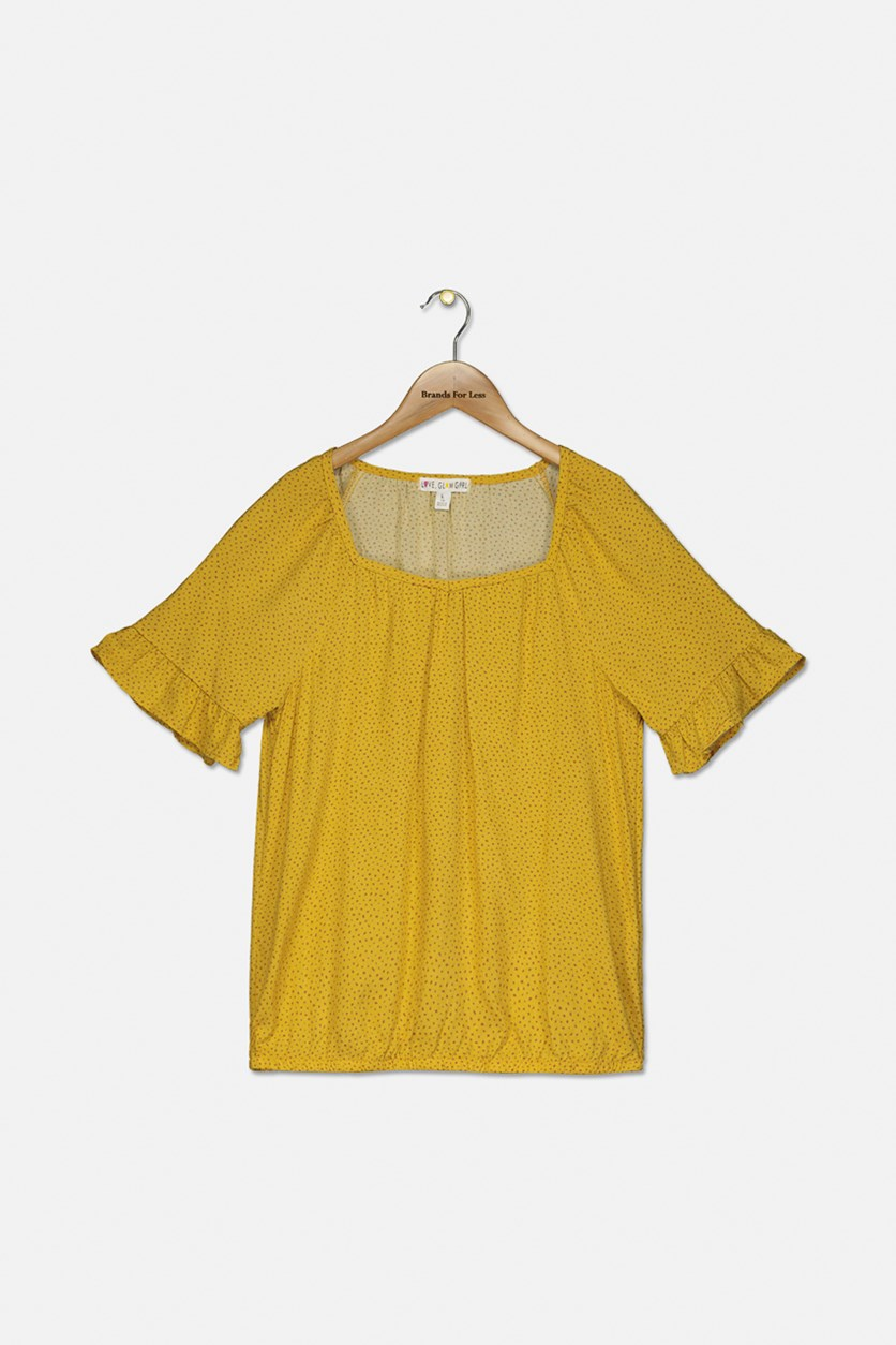 Girl's Allover Printed Top, Mustard