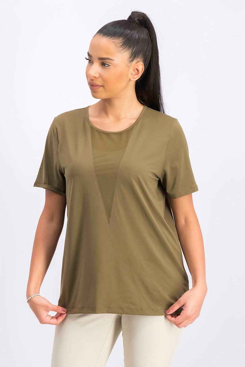 Women's Plain Round Neck Top, Olive