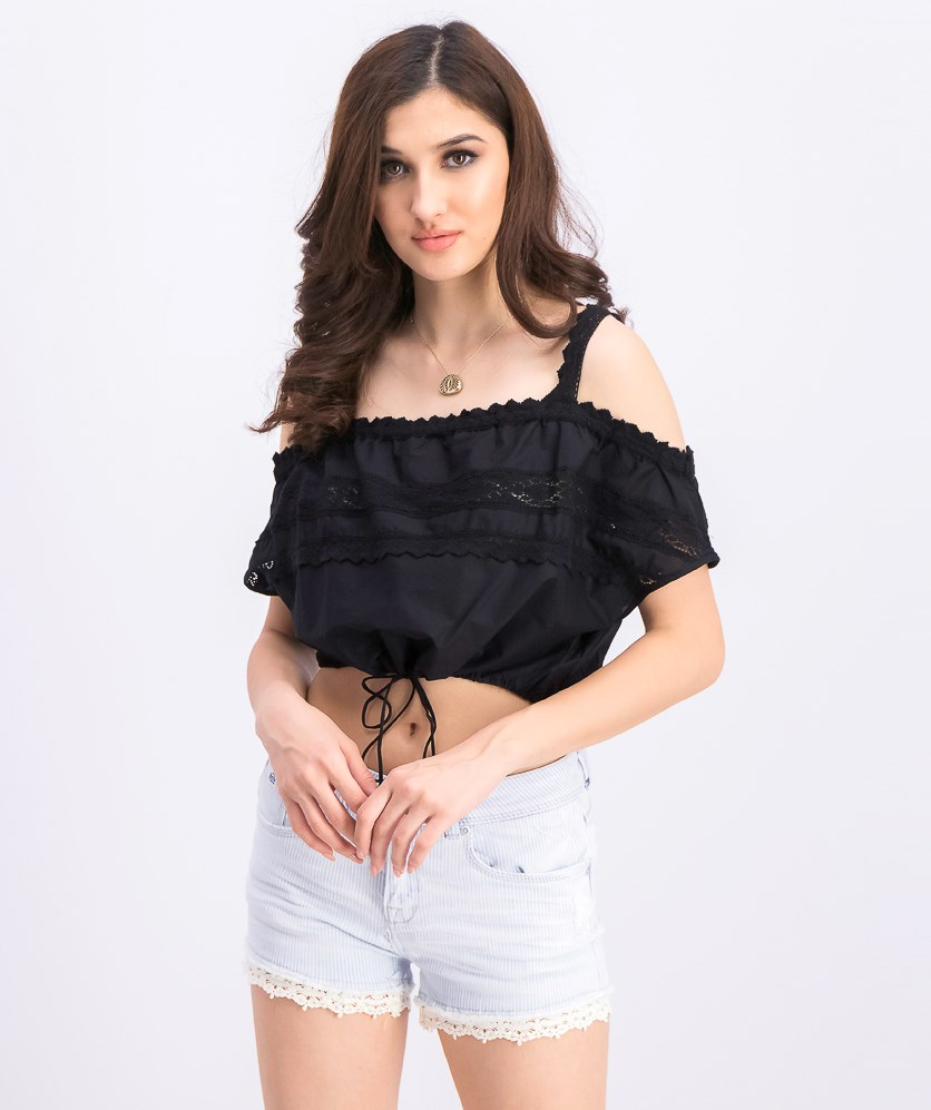 Women's Loose-Fit Lacy Crop Top, Black