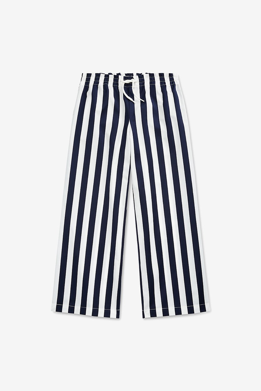 Big Girls Striped Cotton Dobby Pants, White/Navy
