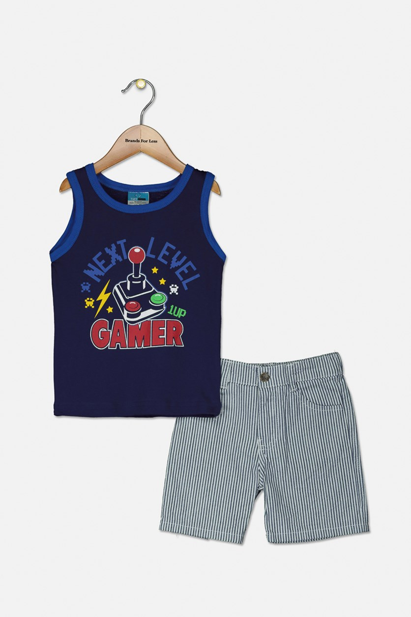 Little Boys Graphic Tank & Woven Short Set, Blue/White Stripe