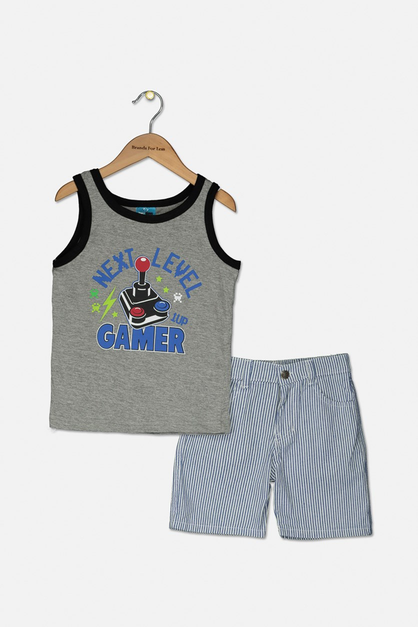 Little Boys Graphic Tank & Woven Short Set, Gray Heather/White Stripe