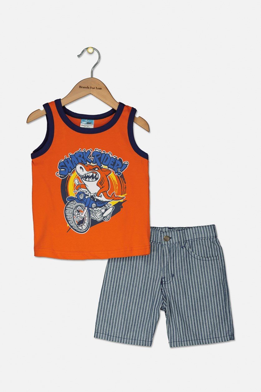 Little Boys Graphic Tank & Woven Short Set, Orange/Navy Stripe