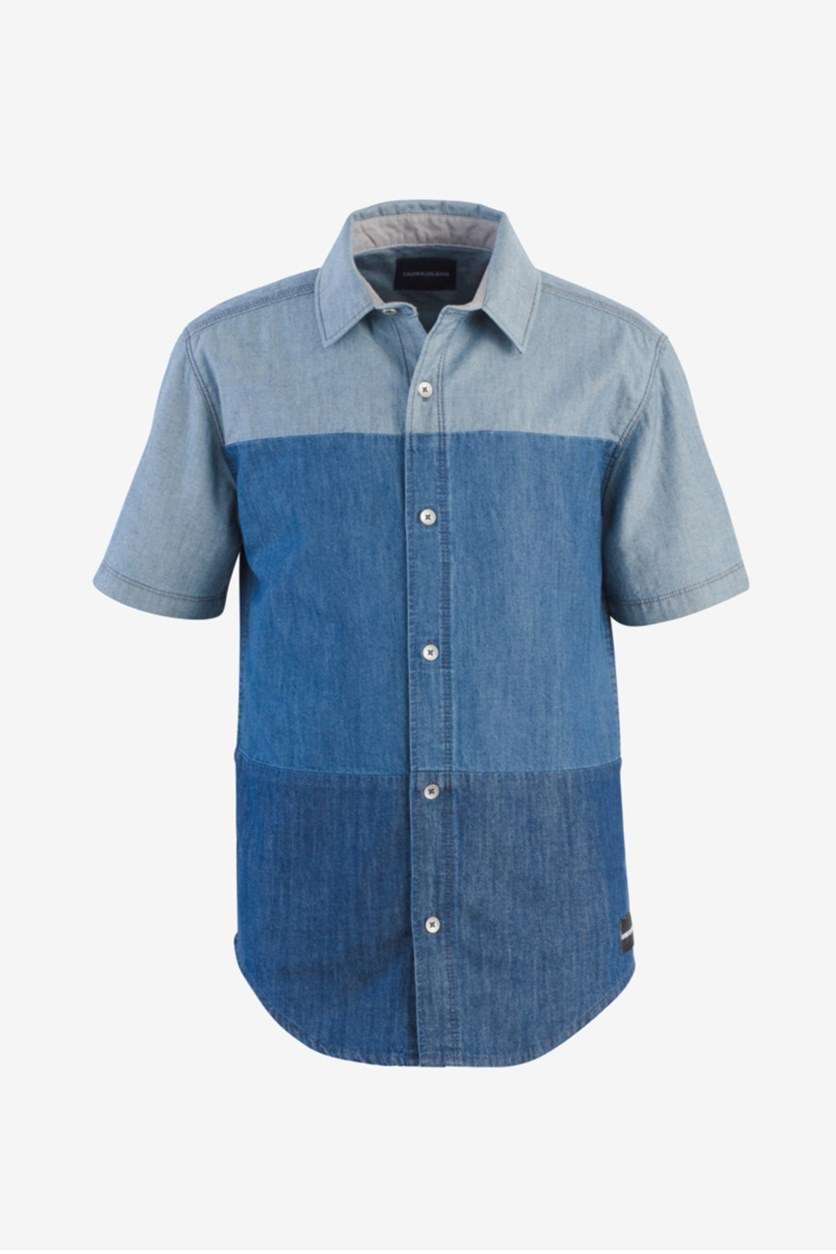 Big Boys Solid-Stack Cotton Shirt, Navy