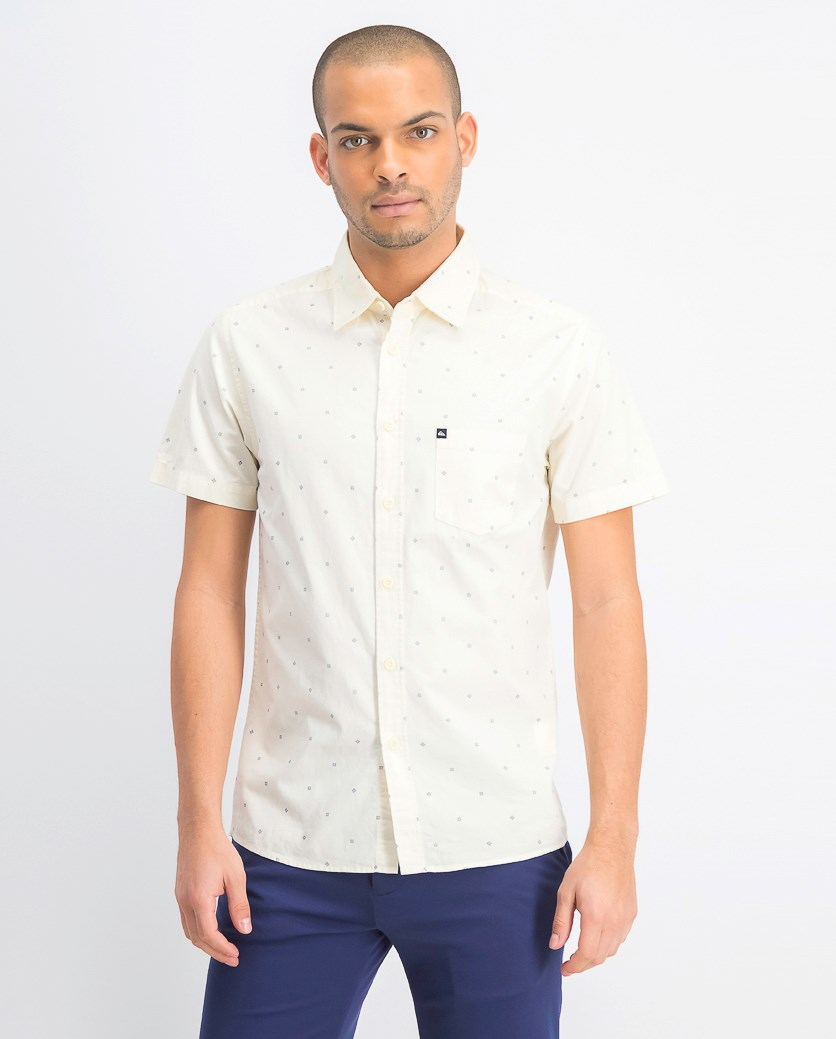 Men's All Over Print Polo Shirt, Pale Yellow