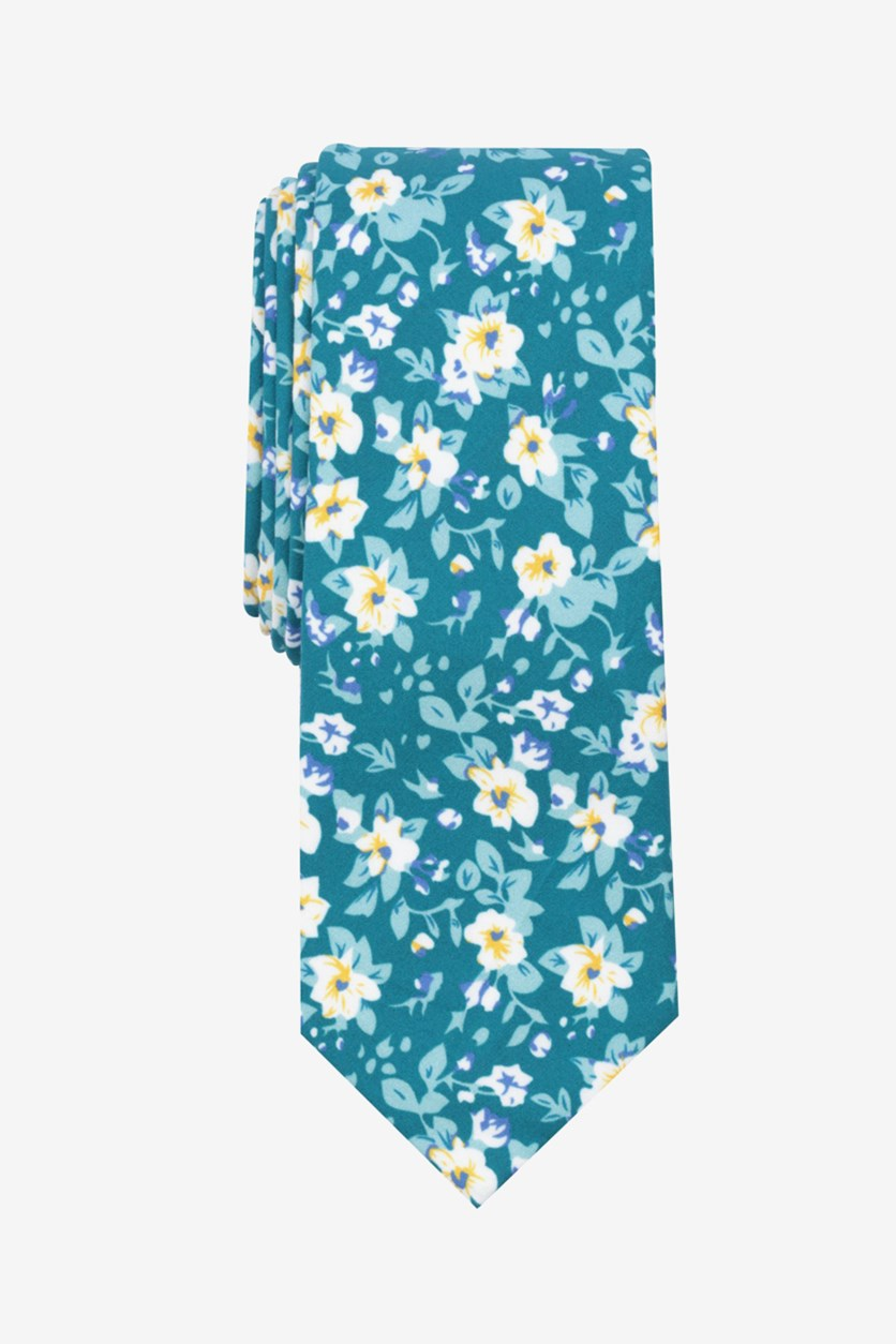 Men's Savannah Floral Skinny Tie, Teal