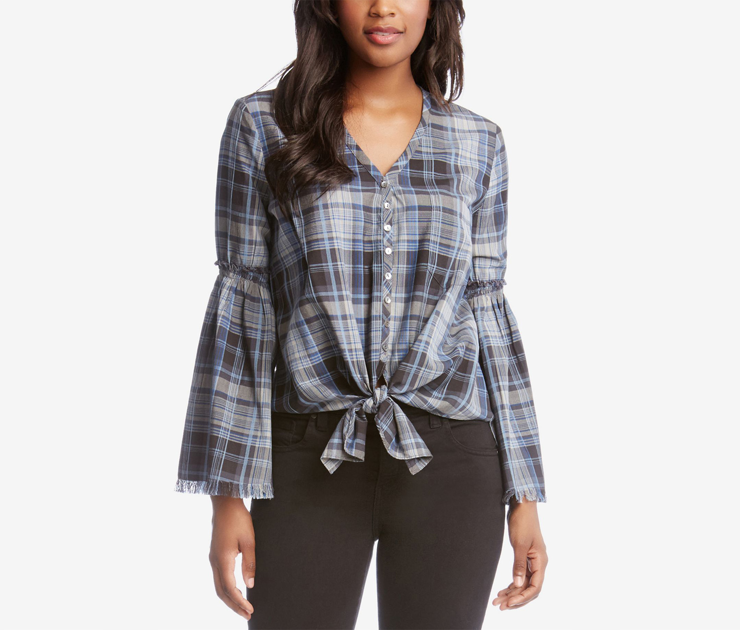 Karen Kane Bell-Sleeve Tie-Front Plaid , Blue/Navy