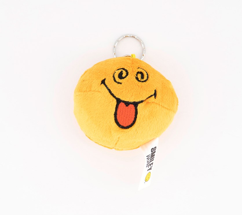Smiley Reversible Silly Moody Key Chain Plush, Yellow/Orange