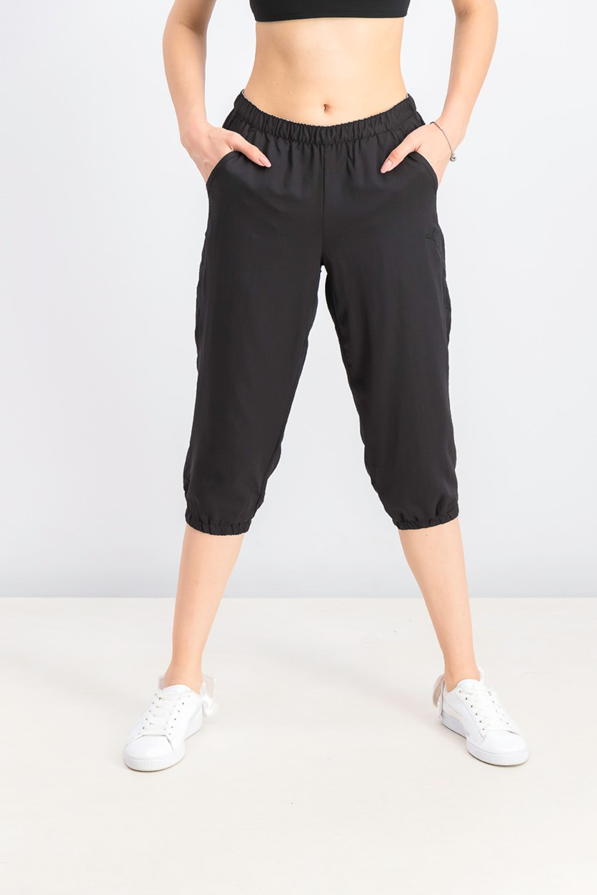 Women's Essential Woven 3/4 Pants, Black