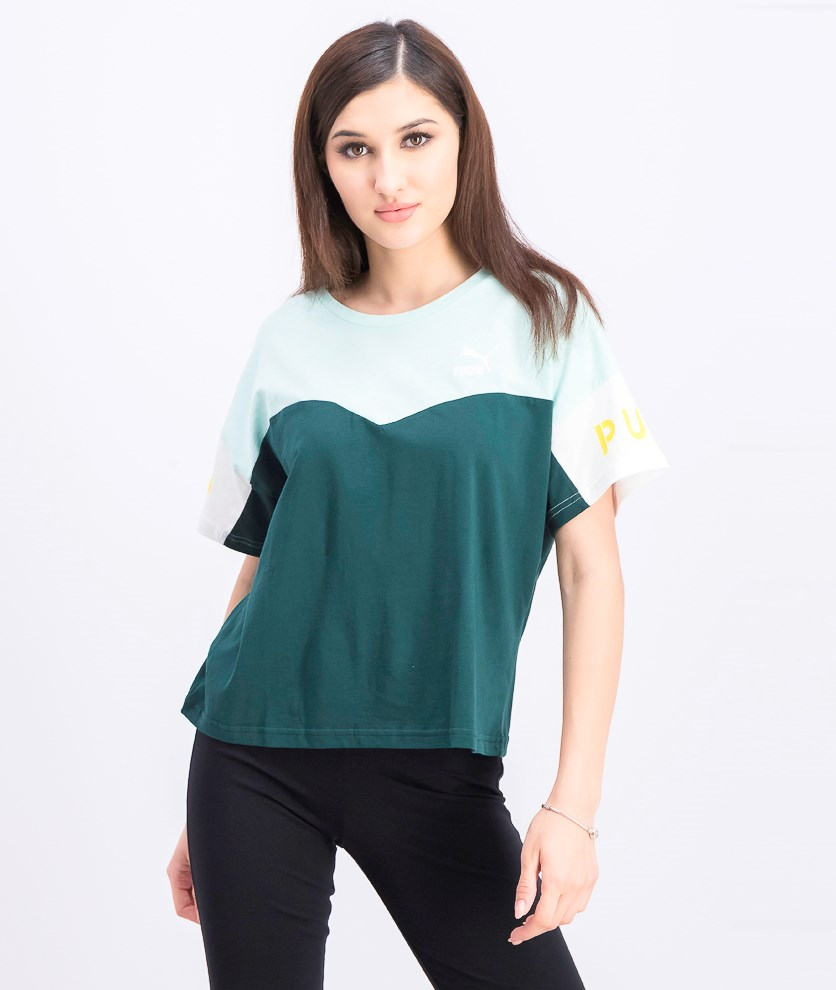 Women's Colorblock Top, Green Combo