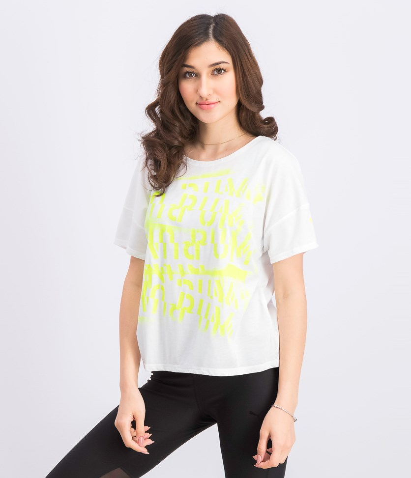 Women's Neon Graphic Print Top, White/Neon Green