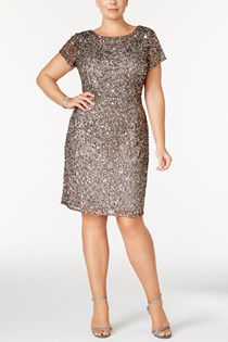 Women's Plus Size Beaded Sheath Dress, Lead
