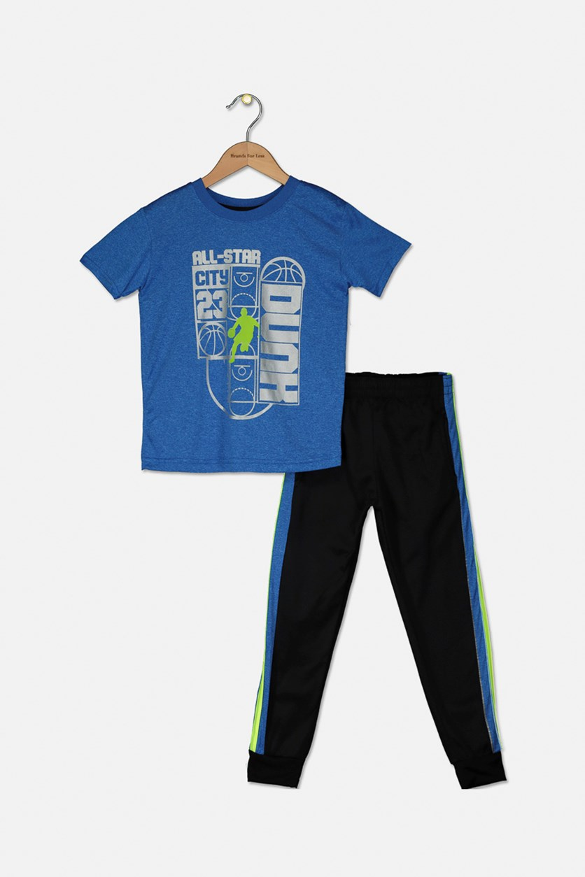 Kids Boys All Star Dunk Set, Heather Blue/Black/Neon Green
