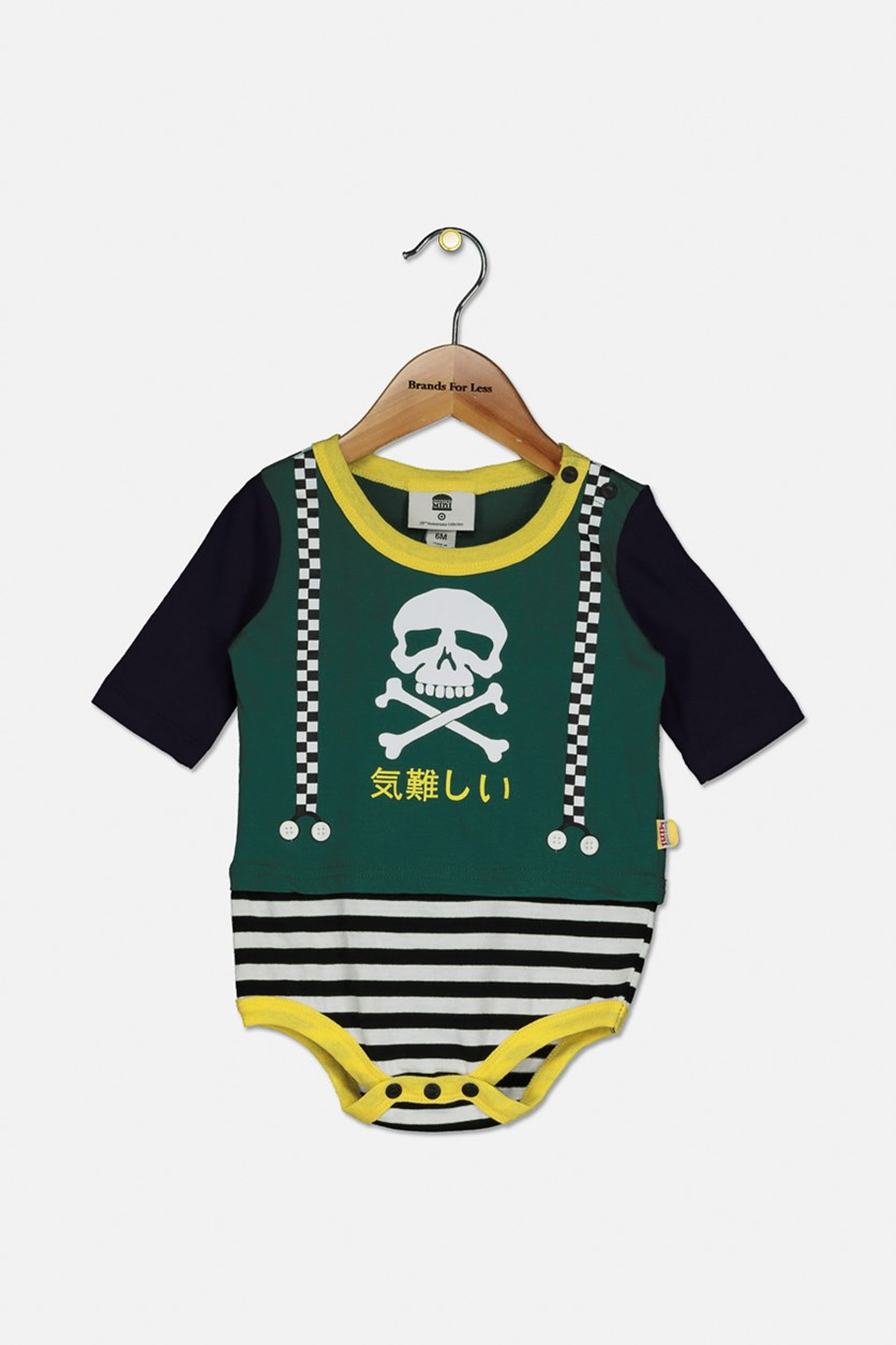Toddler Boy's Graphic Print Rompers, Green Combo