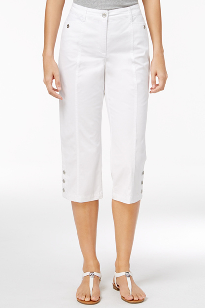 Women's Cropped Button-Hem Pants, White
