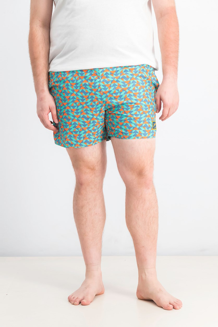 Men's Vintage Print Swim Short, Green/Blue/Orange