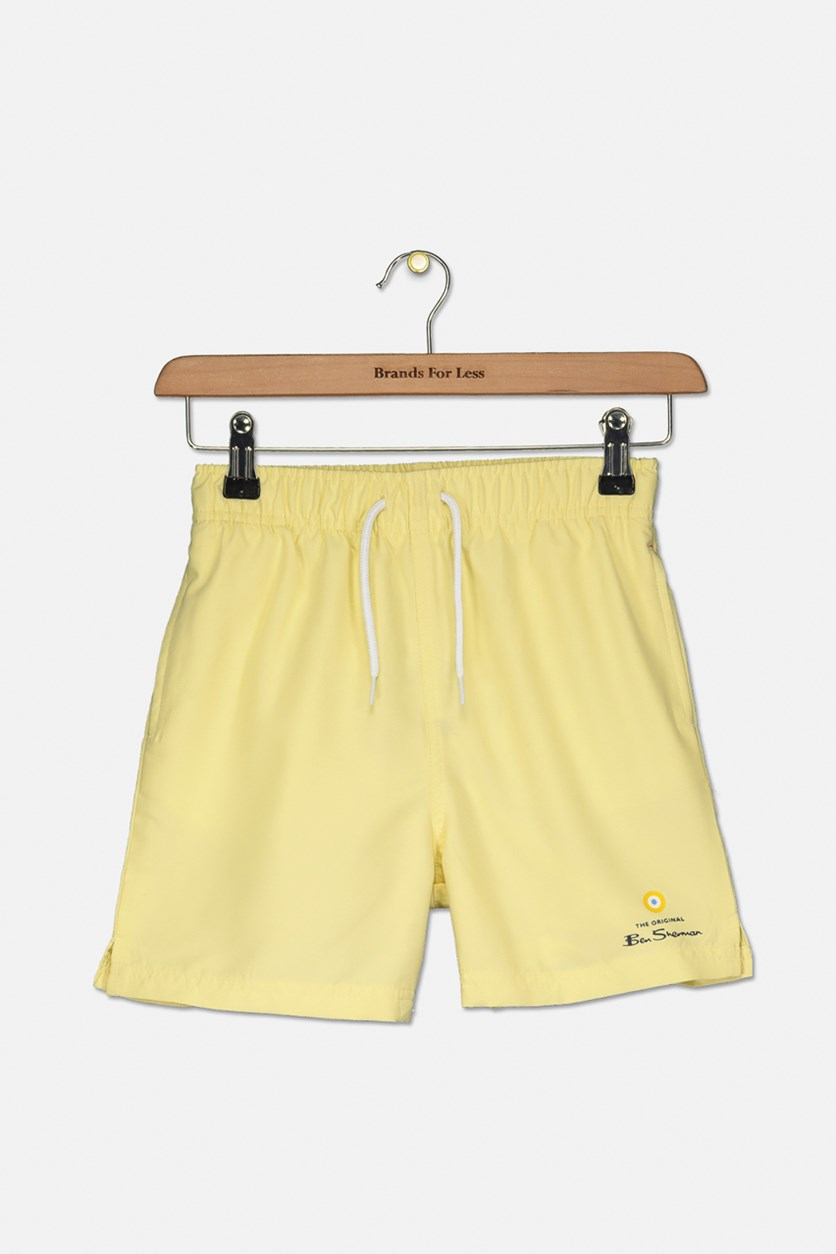Boys Drawstring Swim Short, French Vanilla
