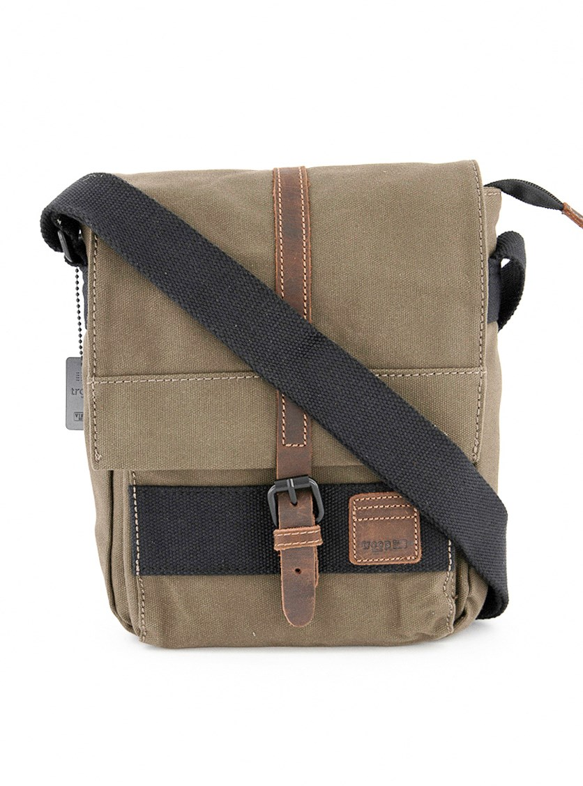 Heritage Waxed Canvas Across Body Bag, Olive Combo