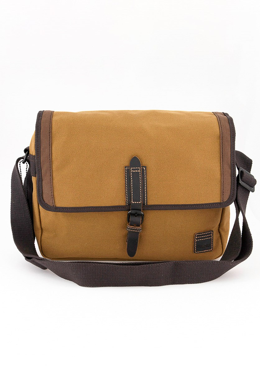 Men's Wet Wax Coated With Leather Bag, Camel