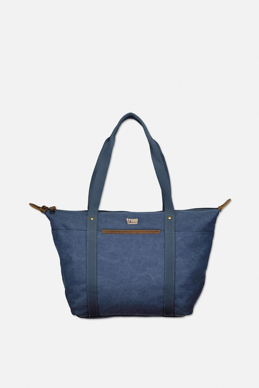 Women's Stone Wax Canvas With Leather Trim Tote Bag, Blue