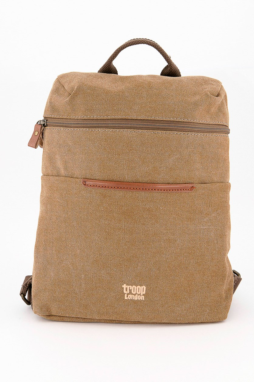 Men's Wax Coated Metro Canvas Backpack, Brown