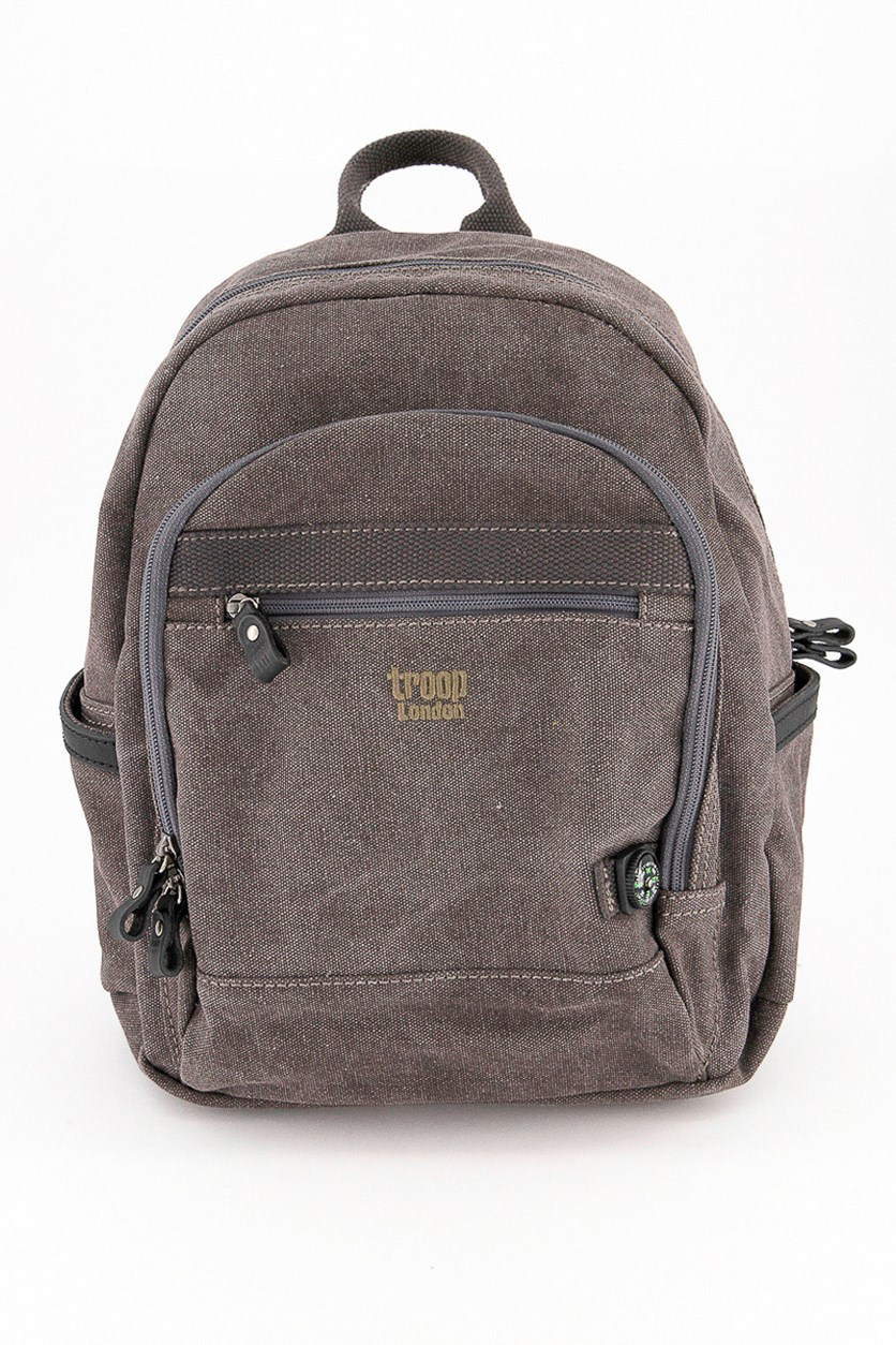 Women's Classic Small Canvas Backpack, Taupe/Black