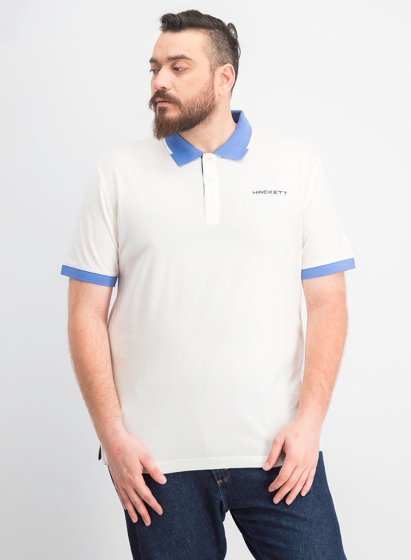 Men's Cotton Pique Polo, White/Blue