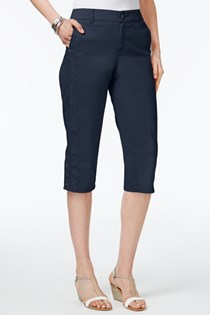 Women's Snap-Hem Capri Pants, Navy