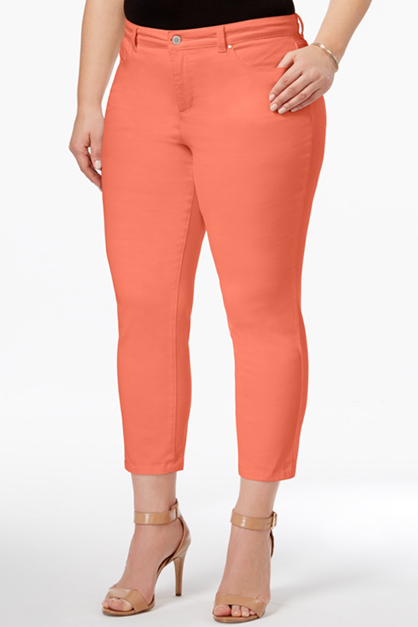 Women's Tummy Slimming Twill Capri Pants, Orange