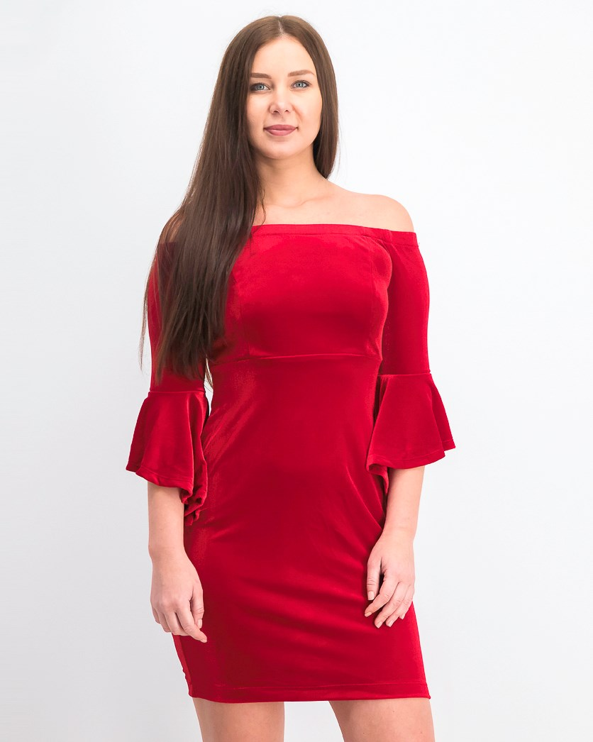 Womens Juniors Velvet Off-the-Shoulder Cocktail Dress, Red