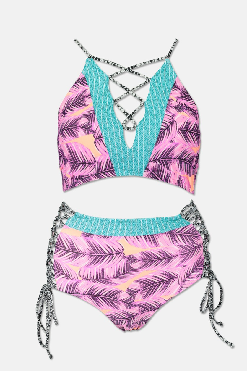 Women's 2 Piese Leaf Breeze Lace Up Swimsuit, Pink/Lilac/Turquoise