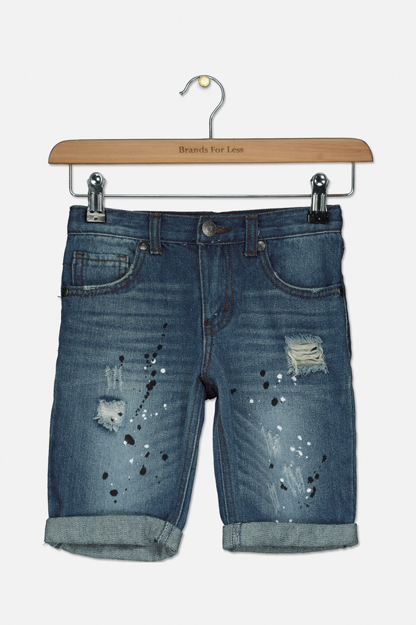 Girl's Pull On Denim Shorts, Blue