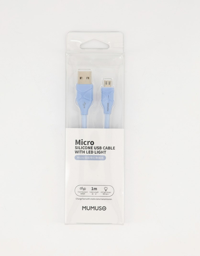 Micro Silicone USB Cable With LED Light, Blue