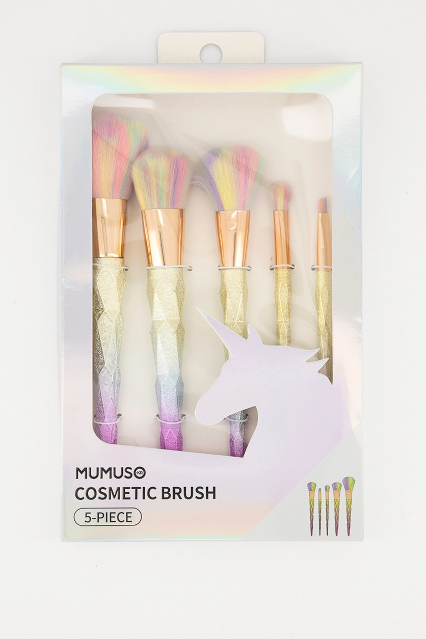 5 Pieces Cosmetic Brush, Pink,Yellow/Purple