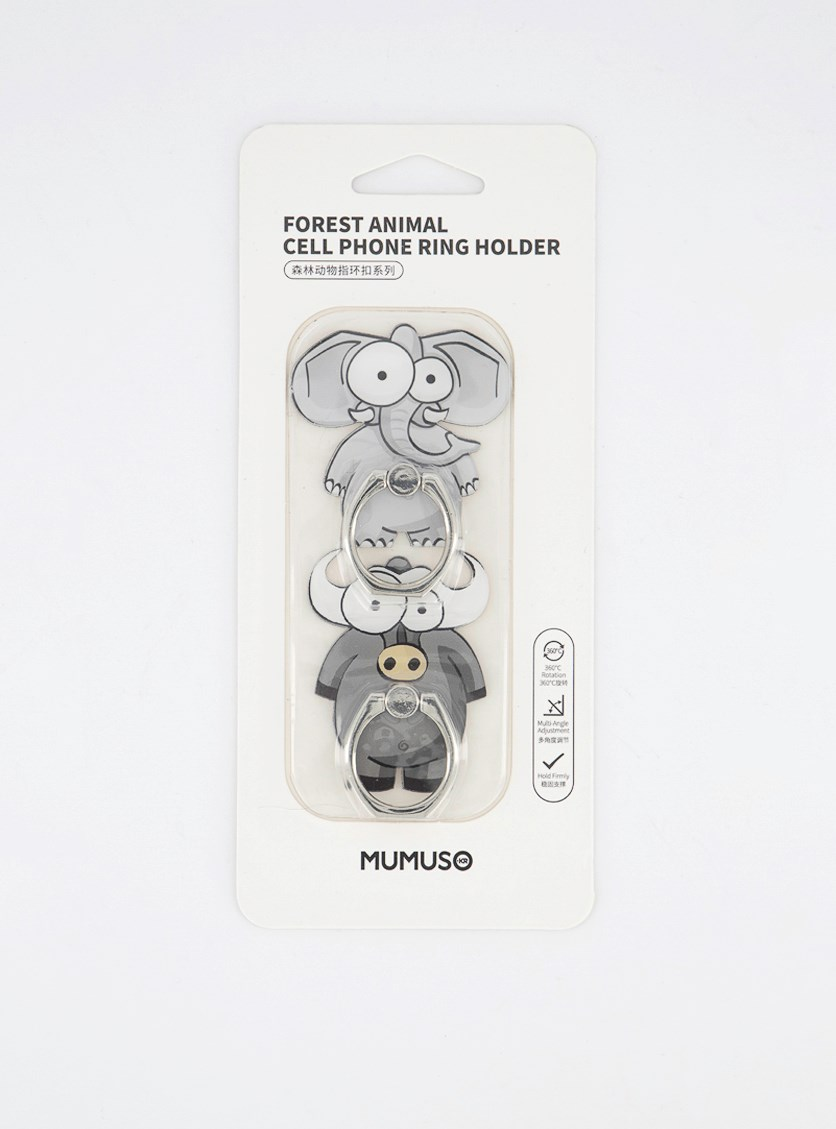 Forest Animal Cell Phone Ring Holder, Grey
