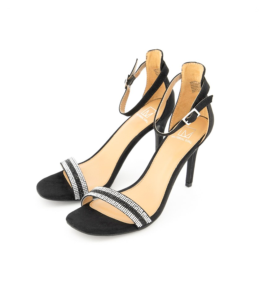 Women's Blaire Fabric Ankle Strap Sandals, Black/Silver