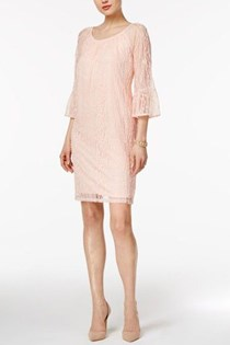 Women's Off-The-Shoulder Lace Dress, Crushed Petal