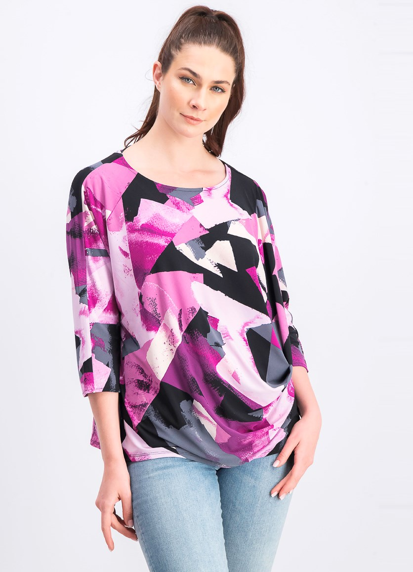 Women's Printed Draped-Front Top, Purple/Grey/Black