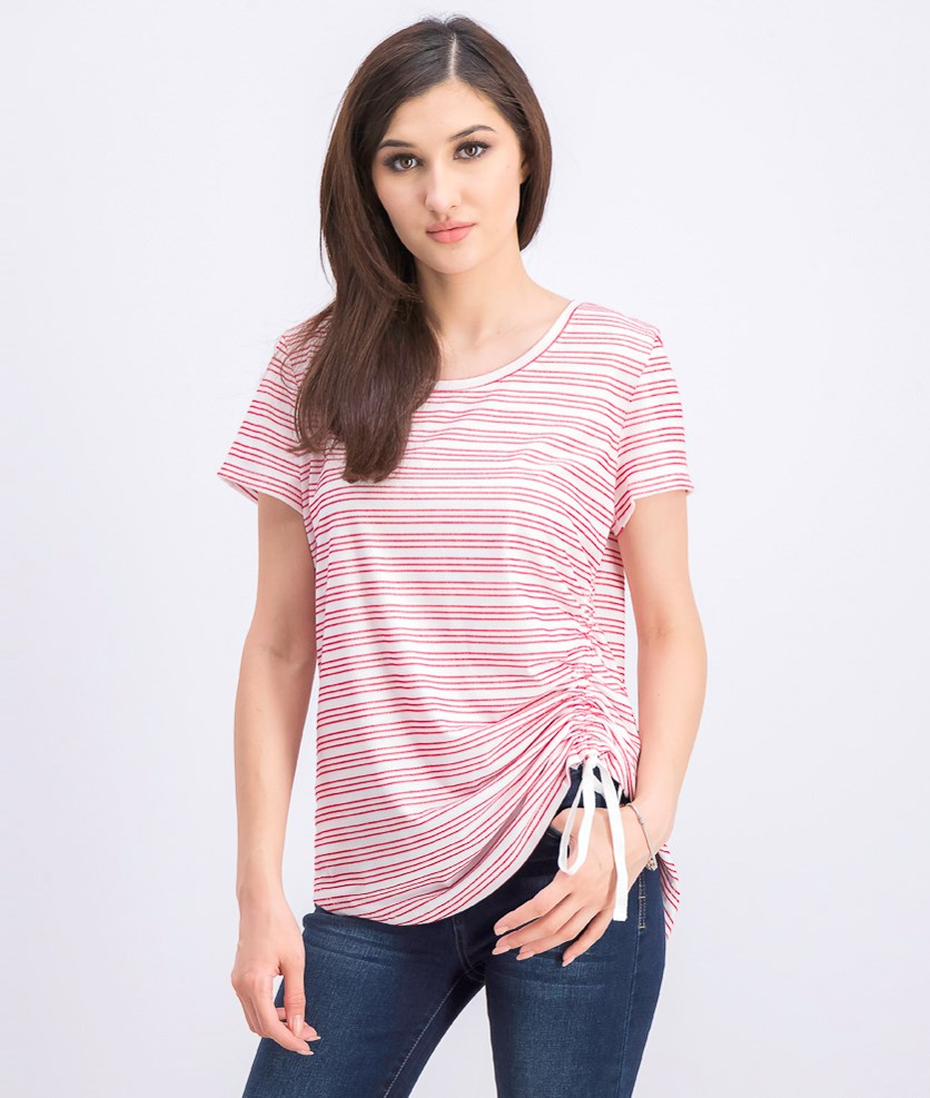 Women's Striped Side-Ruched Top, Red/White