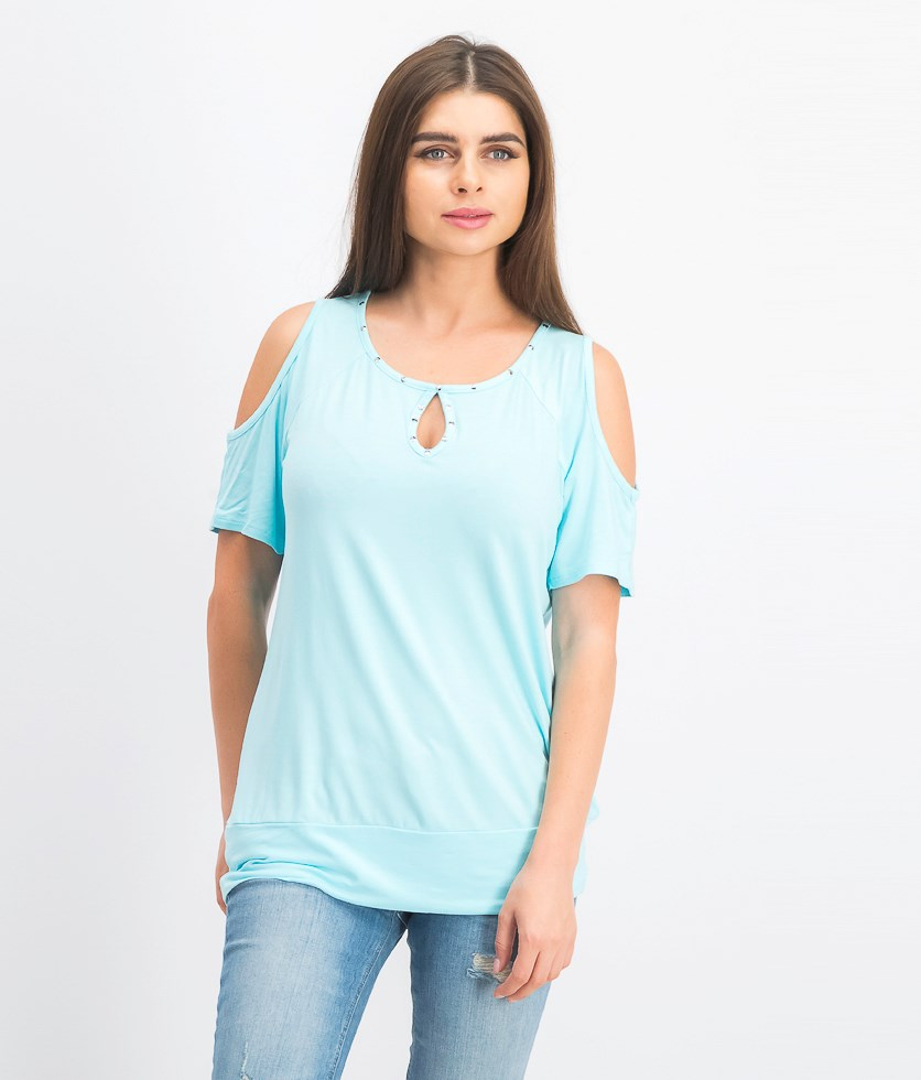 Women's Studded Cold-Shoulder Top, Aqua Flash